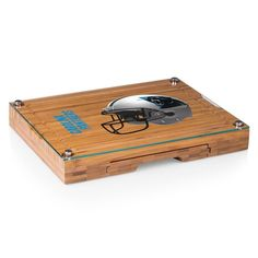Picnic Time Carolina Panthers Concerto Bamboo Cutting Board and Cheese Tools Set, Brown