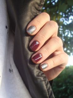 Silver and burgundy nails