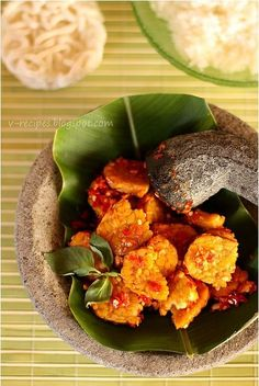 Indonesian food - Tempe Penyet (Lightly Mashed Tempe in a Hot Chili Sambal)
