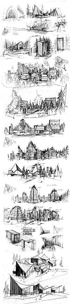 Skeychbook drawings. Would be nice as a drawing in a thick black frame. HATLEHOL CHURCH A SPIRITUAL JOURNEY by Konrad Wójcik, via Behance