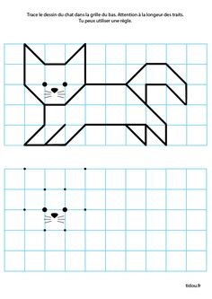 Draw with lines on the grid, exercise for kindergarten GS - Math 1st Grade Worksheets, 2nd Grade Math, Kindergarten Worksheets, Coding For Kids, Math For Kids, Visual Perception Activities, Graph Paper Art, Art Drawings For Kids, Math Facts