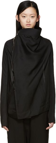 Rick Owens: Black Wool Poplin Exploder Jacket