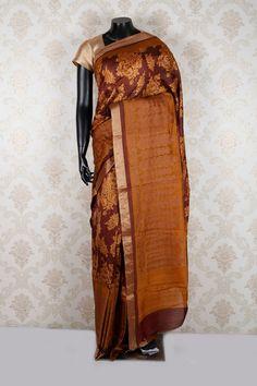 #Brown & #orange pure tussar silk plush #saree with brown & #gold border -SR12529