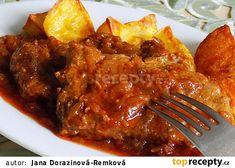 Krkovice pečená na cuketové směsi recept - TopRecepty.cz Pork, Food And Drink, Beef, Ethnic Recipes, Kale Stir Fry, Meat, Pork Chops, Steak