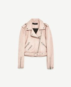 Zara light coloured faux leather jacket. Available in pink and blue. Cropped style, as a summer alternative to your navy leather one
