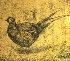The Colonel by Claire Russell 23ct gold leaf on glass 8x8cm