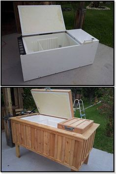 That old freezer bit the dust. Turn it on its side and make a wooden frame with legs (can add casters to move around). You have a rolling ice chest for those big backyard BBQs and Picnic during the Summer