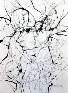 A Web of Abstract Drawings by Boicu Marinela - Boicu Marinela illustration drawing erotic portrait - Abstract Drawings, Ink Drawings, Drawing Faces, Street Art, Illusion Art, Wow Art, Art Plastique, Oeuvre D'art, Painting & Drawing
