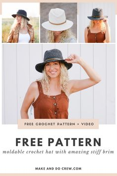 Making your own stunning crochet rancher hat with this free pattern + video tutorial from Make & Do Crew. A touch of tweed, a magically stiff brim + a thin leather belt plus out this versatile fedora-style hat. Use Lion Brand Re-Tweed yarn or sub any worsted weight wool or cotton. (No stiffening starch needed!) #makeanddocrew #crochetfedora #bohocrochetpattern Crochet Cap, Crochet Mittens, Crochet Beanie, Free Crochet, Boho Crochet Patterns, Make And Do Crew, Knit Vest Pattern, Fabric Yarn, Lion Brand