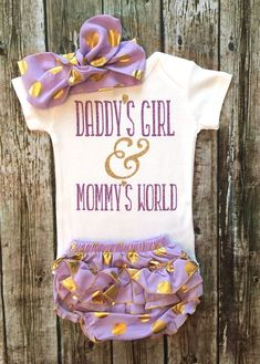 09f66527426 Daddy s Girl   Mommy s World Bodysuit Baby Girl by BellaPiccoli Baby Clothes  For Girls