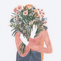 "4,887 mentions J'aime, 9 commentaires - Sara Barnes (@brwnpaperbag) sur Instagram : ""She's doing #floralfriday right. #Illustration by @agenualdo"
