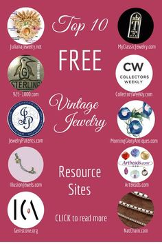 My Top 10 Vintage Jewelry Resource Sites. For a description of each site, visit my blog at: http://www.myclassicjewelry.com/blog/vintagejewelryresourcestips/top-10-vintage-jewelry-resource-sites/