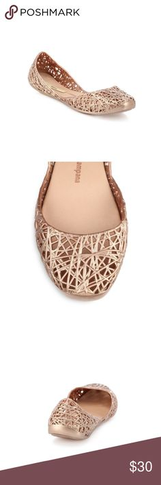 Melissa + Campana Jelly Flats Cute and comfy jelly flats. Gently used condition. Rose Gold color Melissa Shoes Sandals & Flip Flops