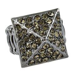 gunmetal pyramid ring with smoky crystals