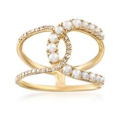 Ross-Simons - 2mm Cultured Pearl and .14 ct. t.w. Diamond Double Horseshoe Ring in 14kt Yellow Gold. Size 9 - #864989