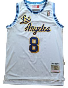 f2f413e6e6e7 NBA Los Angeles Lakers Kobe Bryant White Throwback Classic Sewn Jersey   8  NWT  MitchellNess