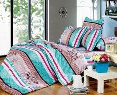Купить постельное белье из поплина ПОЛОСКА И ЦВЕТЫ 1,5-сп от производителя Sailid (Китай)