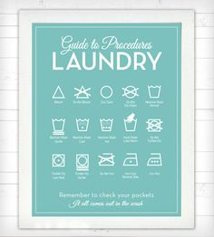 Guide to Procedures Laundry Room Print | Functional art for the laundry room in a mid-century-inspired ... | Printmaking