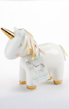 For a fun and functional gift that you could also use as a unique baby girl shower gift, choose Baby Aspen's Ceramic Unicorn Bank! Baby Shower Themes, Baby Shower Decorations, Baby Shower Gifts, Shower Ideas, Unicorn Baby Shower, Girl Shower, Unicorn Rooms, Unicorn Gifts, Unicorn Decor