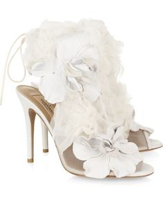 Valentino Spring 2011 leather and tulle-embellished mesh sandals white