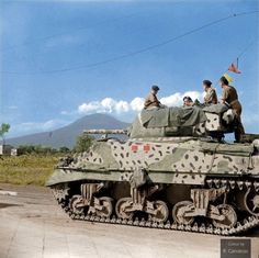 73 years ago today - September 29 1943 On their drive towards Naples, the crew of 'Sheik', a Sherman Mk.III (M4A2) belonging to 'A' Squadron of the Royal Scots Greys (2nd Dragoons), stop to watch water vapour coming out of Mount Vesuvius, Italy. 29 September 1943.