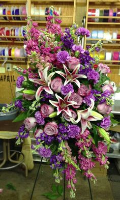 Fragrant standing spray by Jerry's Floral Shop, Greenwood SC --- Florist Friday Recap – Floral Memorials Casket Flowers, Grave Flowers, Cemetery Flowers, Church Flowers, Funeral Flowers, Wedding Flowers, Flowers Garden, Funeral Floral Arrangements, Flower Arrangements