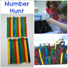 Number Hunt - numbered craft sticks hidden in yard, find all then put in order in dirt box