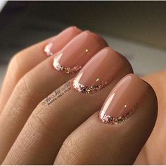Silver glitter and a lighter nude/pink polish. Love this look. Simply elegant. #nailart #SilverGlitter