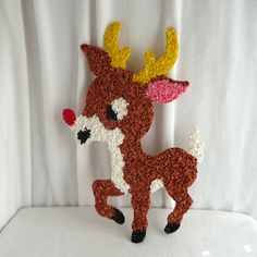 Rudolph Red Nosed Reindeer Popcorn Plastic Vintage Christmas Decoration