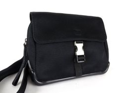 76f137fd9adf 100% Authentic PRADA SPORT Black Fabric Leather Shoulder Bag Made In Italy