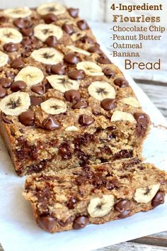 Flourless Chocolate Chip Bananenbrot - Best Picture For Keto Snacks for be Oatmeal Banana Bread, Chocolate Chip Banana Bread, Chocolate Chips, Clean Banana Bread, Protein Banana Bread, Sugar Free Banana Bread, Dove Chocolate, Baked Oatmeal Cups, Low Calorie Banana Bread
