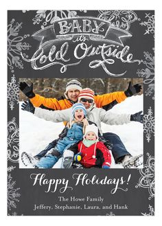 Grey Baby it is Cold Outside Christmas Photo Card