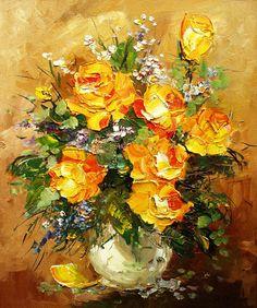 Roses in white vase by Ludmila Gurar