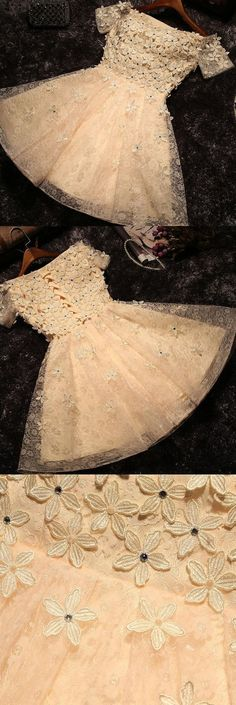Off-the-Shoulder Prom Dresses,A-line Flower Short Prom Dress,2018 Homecoming