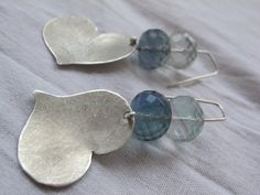 Dangle Heart Earrings with 2 green faceted fluorite by ZizouArT, $47.00