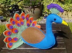 Peacock / Felt Peacock / Toy Peacock / CE Tested by DaisyFelts