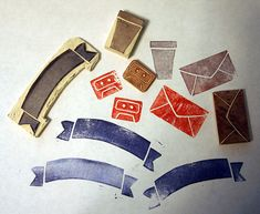 Hand-Carved Stamps by MossyOwls, via Flickr