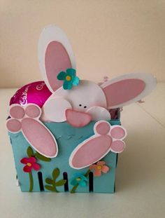 Easter Bunny Basket- Oops I've fallen In. by Karen Maree Farquhar ,Punch art Easter Bunny :- Large oval punch (ears, feet), Small oval framelit (head), 1/2 inch circle punch (paw pads), Nose cut and shaped from large oval punch, 1 inch circle punch (cheeks), Itty Bitty accents flower punch, Bird punch (leaves), 1/8 inch circle punch (flower centres), Berry Box die, Cardstock:- Pink Pirouette, Coastal Cabana, Whisper White, Strawberry Slush, Crisp Cantalope & Old Olive