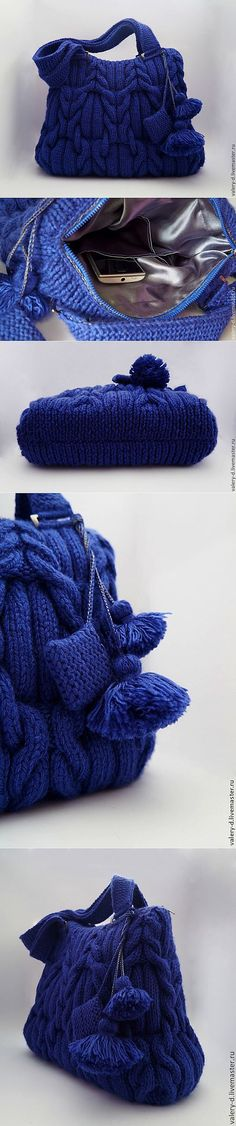 "Синяя сумка спицами ""MIDNIGHT BLUE"".. Описания к ней нет- но зато известно из каких ниток она связана-Sport Wool 10472 василек!!!!! ( найдено в Гугле!)"
