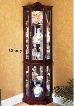 lighted corner curio cabinet glass display
