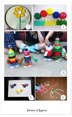 Loose Parts ~ Beverage and Milk Bottle Caps, Colorful and Free! # 5 REALLY shows … - Diy Craft Ideas Bottle Top Art, Bottle Top Crafts, Recycled Crafts Kids, Crafts For Kids, Projects For Kids, Diy For Kids, Plastic Bottle Tops, Recycled Bottles, Craft Activities