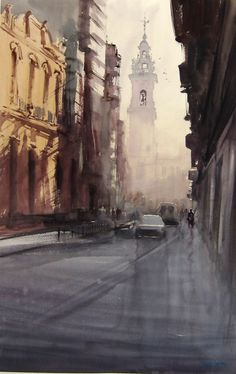 Algemesí-2012 - 120x85cm. Watercolor Landscape, Abstract Watercolor, Watercolour Painting, Watercolours, Urban Sketching, Painting Patterns, Art Oil, Painting Inspiration, Art Pictures