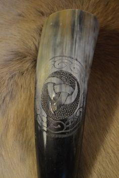 Hand Carved Drinking Horn Featuring Horn by WhereTheGodsLive Viking Horn, Custom Leather Belts, Viking Drinking Horn, Cow Horns, Asatru, Antlers, Pagan, Vikings, Celtic