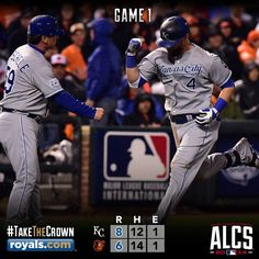 Kansas City Royals take game one of the 2014 ALCS from the Baltimore Orioles thanks to a 10th inning HR from Alex Gordon. GORDO'S DRIVING THE BUS TONIGHT!!
