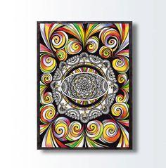 Hypnotic Energy Spiritual Art PRINT, Tribal Art Drawing, Trippy Zentangle Mandala Art, Living Nursery Room Wall Decor, Abstract Art decor by DHANAdesign on Etsy
