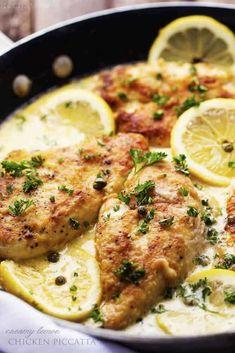 Lemon Chicken Piccata, Creamy Lemon Chicken, Creamy Chicken Piccata Recipe, Healthy Chicken Piccata, Lemon Caper Chicken, Chicken Scallopini, Lemon Pasta, Garlic Chicken, Poulet Piccata