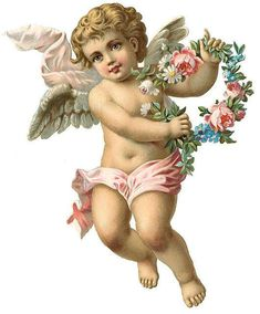 Victorian cherub with wreath
