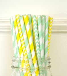 Paper Straws set of 25 MINT Green & YELLOW by TheSimplyChicShop, $4.00