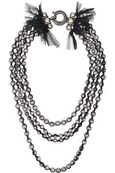 Lanvin   Tulle-covered faux pearl and glass crystal necklace   NET-A-PORTER.COM