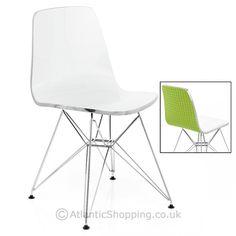 Vivid Eames Style Chair White & Green